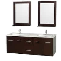 Wyndham Collection Centra Espresso 60-inch Double Carrera Marble Bathroom Vanity with Mirrors