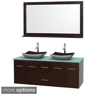 Wyndham Collection Centra Espresso 60-inch Double Green Glass Bathroom Vanity with Mirror