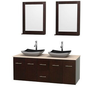 Wyndham Collection Centra Espresso 60-inch Double Ivory Marble Bathroom Vanity with Mirrors