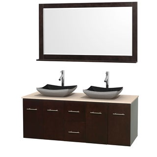 Wyndham Collection Centra Espresso 60-inch Double Ivory Marble Bathroom Vanity with Mirror