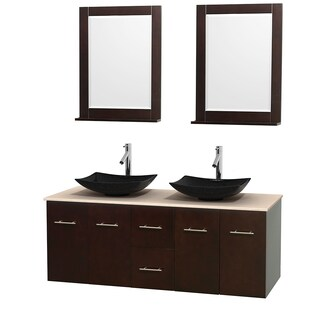 Wyndham Collection Centra Espresso 60-inch Double Ivory Marble Bathroom Vanity with Mirrors (3 options available)