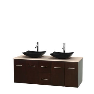 Wyndham Collection Centra Espresso 60-inch Double Ivory Marble Bathroom Vanity