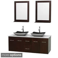 Wyndham Collection Centra Espresso 60-inch Double White Man-made Stone Bathroom Vanity with Mirrors
