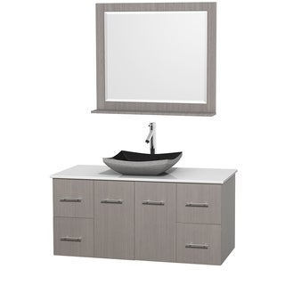 Wyndham Collection Centra Grey Oak 48-inch Single White Man-made Stone Bathroom Vanity with Mirror