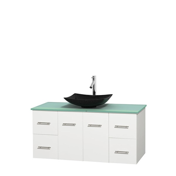 Wyndham Collection Centra White 48-inch Single Green Glass Vanity