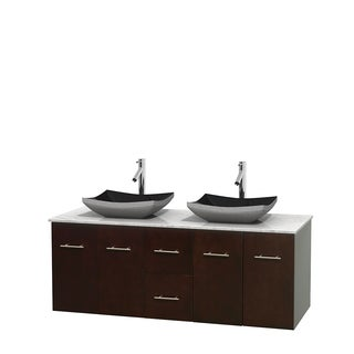 Wyndham Collection Centra Espresso 60-inch Double Carrera Marble Bathroom Vanity (3 options available)
