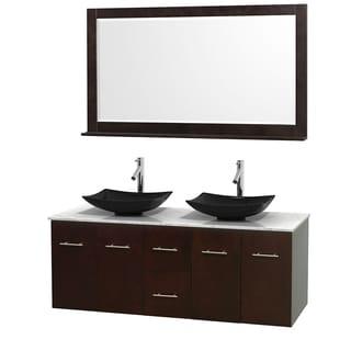 Wyndham Collection Centra Espresso 60-inch Double Carrera Marble Bathroom Vanity with Mirror