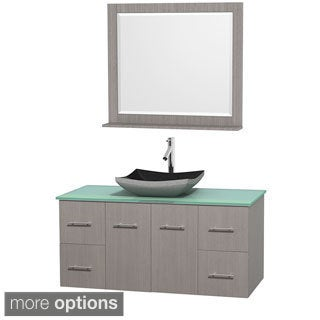 Wyndham Collection Centra Grey Oak 48-inch Single Green Glass Bathroom Vanity with Mirror