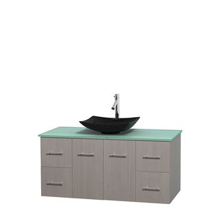 Wyndham Collection Centra Grey Oak 48-inch Single Green Glass Vanity