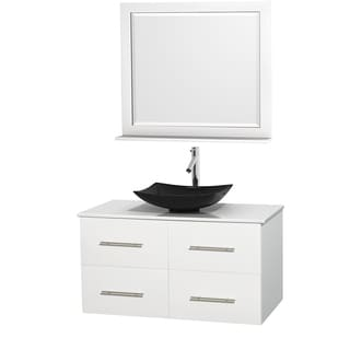Wyndham Collection Centra White 42-inch Single White Man-made Stone Bathroom Vanity with Mirror