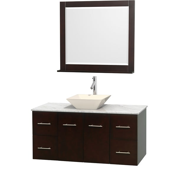 Wyndham Collection Centra Espresso 48-inch Single Carrera Marble Bathroom Vanity with Mirror