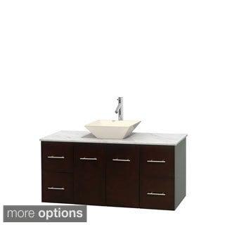 Wyndham Collection Centra Espresso 48-inch Single Carrera Marble Bathroom Vanity