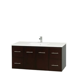 Wyndham Collection Centra Espresso 48-inch Single Carrera Marble Bathroom Vanity