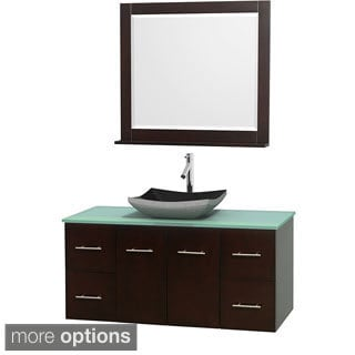 Wyndham Collection Centra Espresso 48-inch Single Green Glass Bathroom Vanity with Mirror