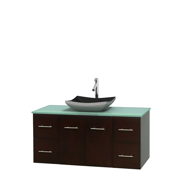 Wyndham Collection Centra Espresso 48-inch Single Green Glass Bathroom Vanity