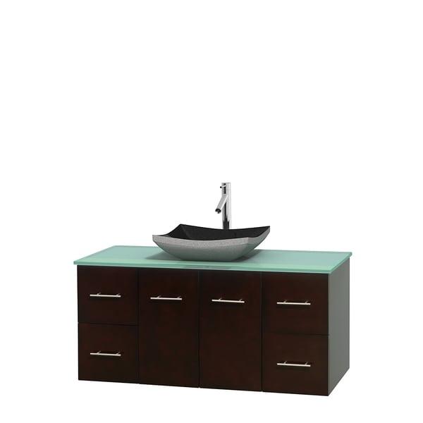 Wyndham Collection Centra Espresso 48-inch Single Green Glass Bathroom Vanity