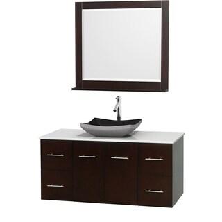 Wyndham Collection Centra Espresso 48-inch Single White Man-made Stone Bathroom Vanity with Mirror