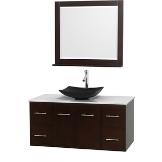 Wyndham Collection Centra Espresso 48-inch Single White Man-made Stone Bathroom Vanity with Mirror
