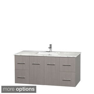 Wyndham Collection Centra Grey Oak 48-inch Single Carrera Marble Vanity