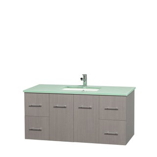 Wyndham Collection Centra Grey Oak 48-inch Single Carrera Marble Vanity (Option: Grey Oak,Green Glass Counter,UM Sink,No Mirror)