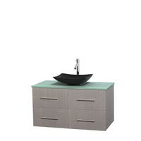Wyndham Collection Centra Grey Oak 42-inch Single Green Glass Vanity