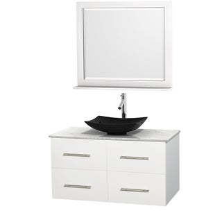 Wyndham Collection Centra White 42-inch Single Carrera Marble Bathroom Vanity with Mirror