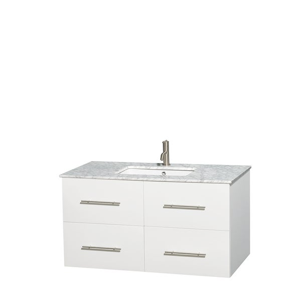Wyndham Collection Centra White 42-inch Single Carrera Marble Vanity