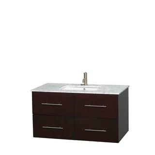 Wyndham Collection Centra Espresso 42-inch Single Carrera Marble Bathroom Vanity