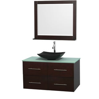 Wyndham Collection Centra Espresso 42-inch Single Green Glass Bathroom Vanity with Mirror