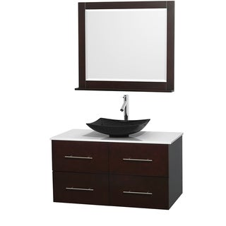 Wyndham Collection Centra Espresso 42-inch Single White Man-made Stone Bathroom Vanity with Mirror