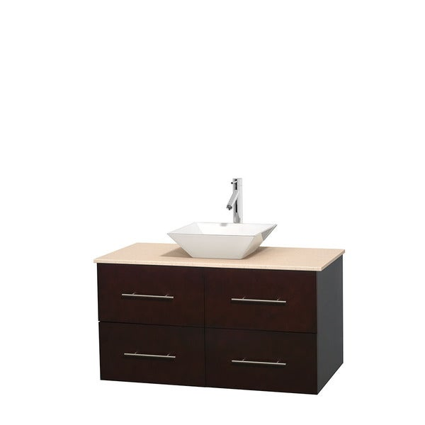 Wyndham Collection Centra Espresso 42-inch Single Ivory Marble Bathroom Vanity