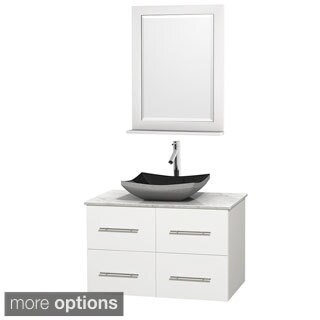 Wyndham Collection Centra White 36-inch Single Carrera Marble Bathroom Vanity with Mirror