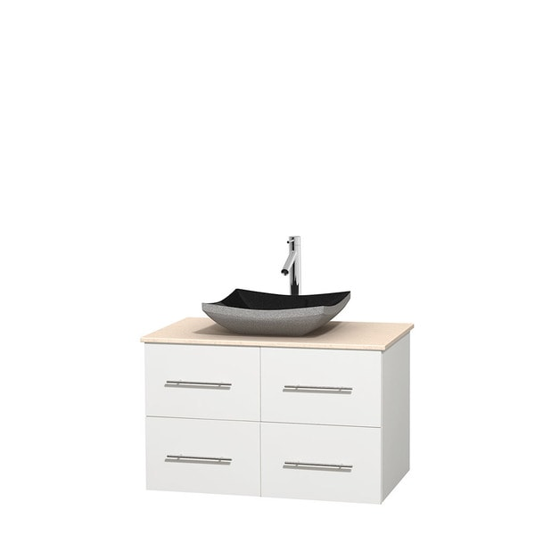 Wyndham Collection Centra White 36-inch Single Ivory Marble Vanity