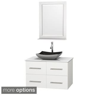 Wyndham Collection Centra White 36-inch Single White Man-made Stone Bathroom Vanity with Mirror