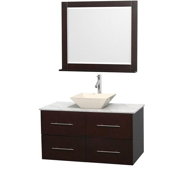 Wyndham Collection Centra 42-inch Single Bathroom Vanity in Espresso, w/ Mirror (Bone Porcelain or White Porcelain)