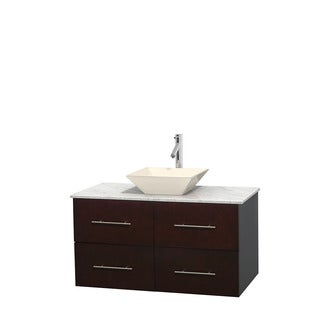 Wyndham Collection Centra 42-inch Single Bathroom Vanity in Espresso, No Mirror (Bone Porcelain or White Porcelain)