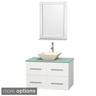Wyndham Collection Centra 36-inch Single Bathroom Vanity in White, w/ Mirror (Bone Porcelain or White Porcelain)