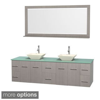 Wyndham Collection Centra 80-inch Double Bathroom Vanity in Grey Oak, w/ Mirror (Bone Porcelain or White Porcelain)