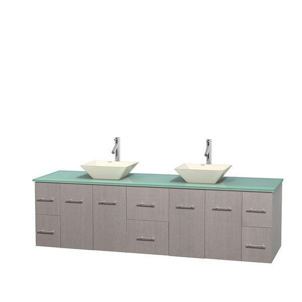 Wyndham Collection Centra 80-inch Double Bathroom Vanity in Grey Oak, No Mirror (Bone Porcelain or White Porcelain)