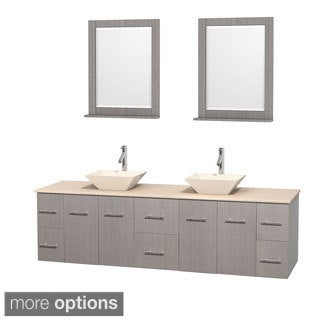 Wyndham Collection Centra 80-inch Double Bathroom Vanity in Grey Oak, w/ Mirrors (Bone Porcelain or White Porcelain)