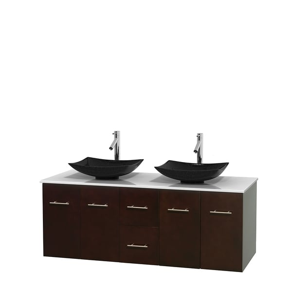 Wyndham Collection Centra 60-inch Double Bathroom Vanity in Espresso, No Mirror (Black Granite, Ivory Marble or White Carrera)