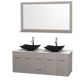 Wyndham Collection Centra 60-inch Double Bathroom Vanity in Grey Oak, w/ Mirror (Black Granite, Ivory Marble or White Carrera)