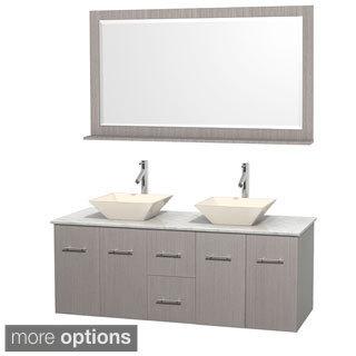 Wyndham Collection Centra 60-inch Double Bathroom Vanity in Grey Oak, w/ Mirror (Bone Porcelain or White Porcelain)