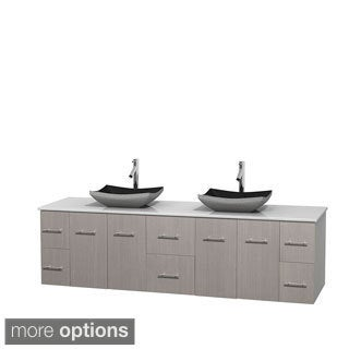 Wyndham Collection Centra 80-inch Double Bathroom Vanity in Grey Oak, No Mirror (Black Granite, Ivory Marble or White Carrera)