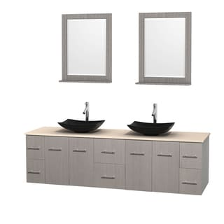Wyndham Collection Centra 80-inch Double Bathroom Vanity in Grey Oak, w/ Mirrors (Black Granite, Ivory Marble or White Carrera)