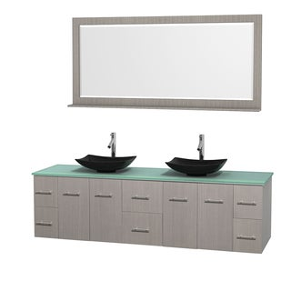 Wyndham Collection Centra 80-inch Double Bathroom Vanity in Grey Oak, w/ Mirror (Black Granite, Ivory Marble or White Carrera)