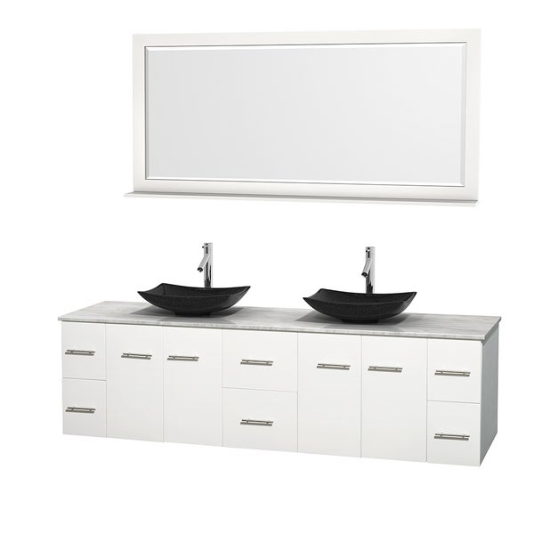 Wyndham Collection Centra 80-inch Double Bathroom Vanity in White, w/ Mirror (Black Granite, Ivory Marble or White Carrera)