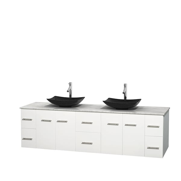 Wyndham Collection Centra 80-inch Double Bathroom Vanity in White, No Mirror (Black Granite, Ivory Marble or White Carrera)