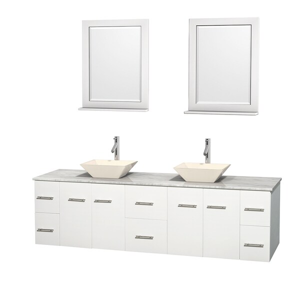 Wyndham Collection Centra 80-inch Double Bathroom Vanity in White, w/ Mirrors (Bone Porcelain or White Porcelain)