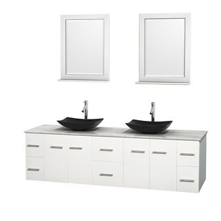 Wyndham Collection Centra 80-inch Double Bathroom Vanity in White, w/ Mirrors (Black Granite, Ivory Marble or White Carrera)